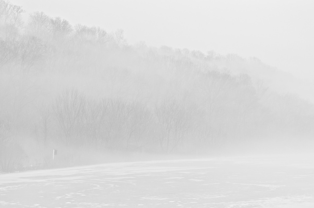 Almost white foggy scene