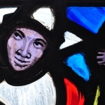 Stained glass depicting a presumably African-American character from Stephen Foster's songs