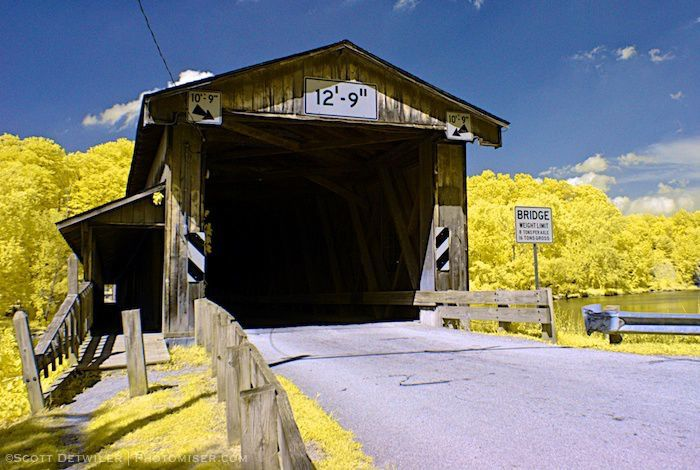 Harpersfield Bridge Entrance, false color IR