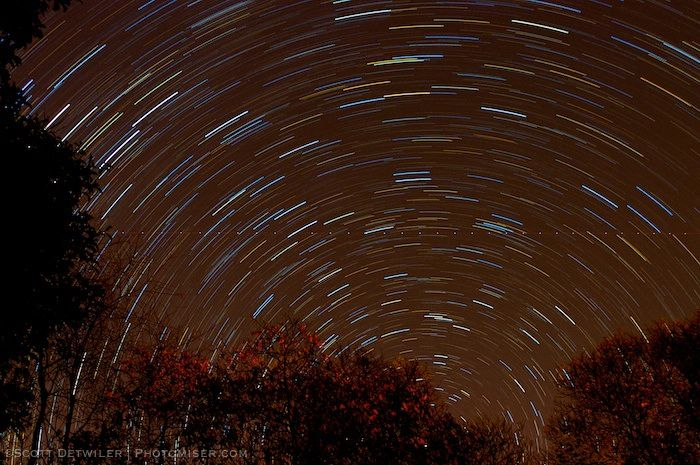 Star trails circling the north star
